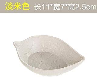 Plato de salsa de cerámica creativa Vajilla japonesa salsa de vinagre condimentos encurtidos plato de vinagre plato de plato pequeño plato de salsa de plato de hueso,hojas de color beige claro