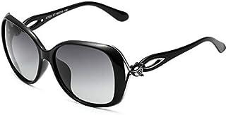 النظارات الشمسية الكلاسيكية المرأة المستقطبة كبيرة الحجم جولة فوكس كريستال مصمم الستائر ، 100٪ حماية من الأشعة فوق البنفسجية
