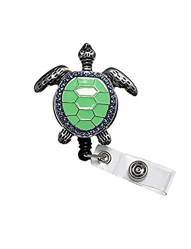 Retractable Nurse Badge Reel, ID Card Badge Holder Cute Enamel Sea Turtle Decorative Badge Holder Reel Clips with Retractile Cord Gifts for Nurse Volunteer Students & Doctors (Green)