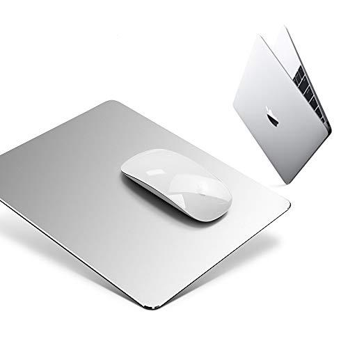 Aluminium Metall Mauspad Gaming Mouse Pad Aluminium-Mausunterlage, Mauspad mit Glatter Präzisionsoberfläche und Rutschfester Gummibasis für Laser-/optische Maus,Silber (23 x 18x 0,2 cm)
