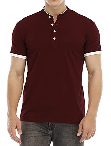 Herren Poloshirt Sommer T-Shirt Schlank Einfarbig Basic Kurzarm Polohemd Polo Shirt Stehkragen Casual