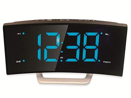 ROXX Radiowecker mit UKW Radio Jumbo Display 2 Weckzeiten Design Uhrenradio CR302