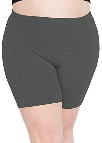 Stretch is Comfort Women's Cotton Plus Size Bike Shorts Charcoal Gray 2XL