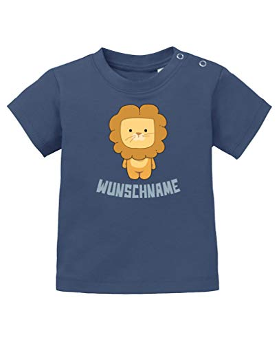 Comedy Shirts - Clipart Löwe - Wunschname - Baby T-Shirt - Navy/Eisblau Gr. 92/98