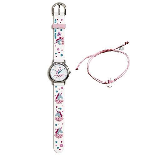 Conjunto Agatha Ruiz de la Prada AGR304 colección Fantasía niña unicornio reloj blanco pulsera plata - Modelo: AGR304