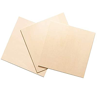 3Pcs 220x220x3mm Squares Unfinished Unpainted Basswood Plywood Thin Sheets for Craft DIY Hand-Made Project Mini House Building Architectural Model
