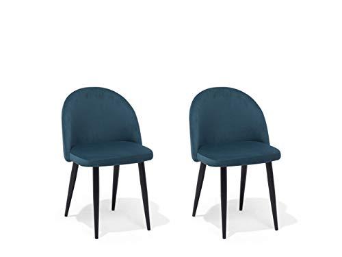 Preisvergleich Produktbild Beliani Polsterstuhl mit Metallbeinen im 2er Set dunkelblauer Samtstoff Visalia
