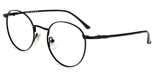 Firmoo Lesebrille 0.0 Damen mit Blaulichtfilter, Anti Blaulicht Computerbrille mit Sehstärke, Runde Lesehilfe Lesebrille Herren für PC Handy Fernseher, Schwarze Sehhilfe Brille