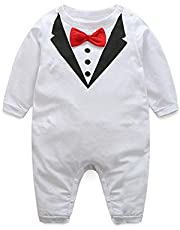 suit and tie White Romper For Boys Comfy Cotton Romper for Baby Boys Breathable Skin-friendly Short-sleeve Jumpsuit Unisex Baby Clothing Toddler Wear