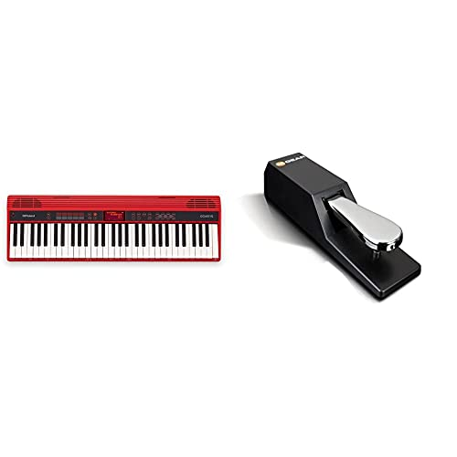 Roland Go-61K Keys Music Creation Keyboard with a Wireless SmartphOne Connection, Red & M-Audio SP-2 - Universal Sustain Pedal with Piano Style Action, The Ideal Accessory for MIDI Keyboards