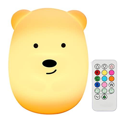 DIQC - Luz nocturna LED para niños, lámpara de mesilla de noche de silicona recargable, luz nocturna de oso 9 colores con USB y mando a distancia, para dormitorio o salón