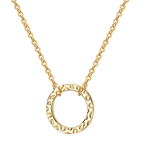 Simple Karma Necklace Hammered Open Circle Pendant Necklace 14K Real Gold Plated Necklace Dainty Necklace for Women