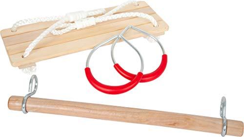 small foot 11908 Schaukel-Set 3 in 1, mit Brettschaukel, Holztrapez und Metallturnringen, ab DREI Jahren Spielzeug