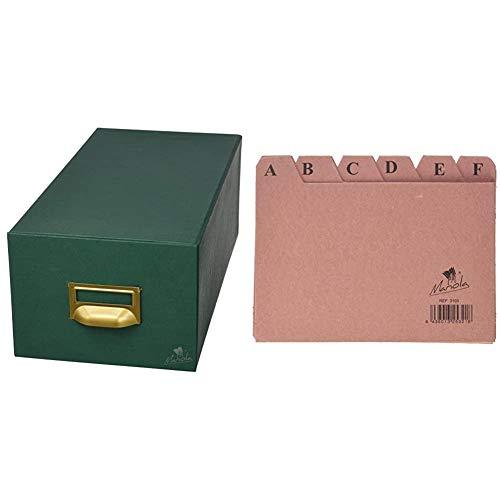 Mariola 3-1000 - Fichero cartón forrado en Geltex para 1000 fichas dimensiones 180 x 125 x 350 mm, color verde + 3103 - Índice alfabético 24 posiciones cartón 150x100 mm
