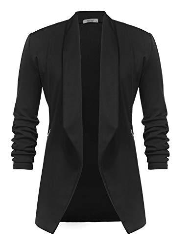 Unibelle Damen Blazer Lang Cardigan Tailliert Elegant Casual Jacke Blazer Slim Fit Anzug Trenchcoat Schwarz M