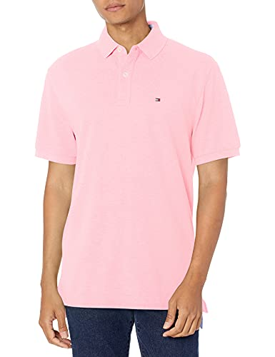 Tommy Hilfiger Men's Short Sleeve Polo Shirt in Classic Fit, Pebble Pink Medium