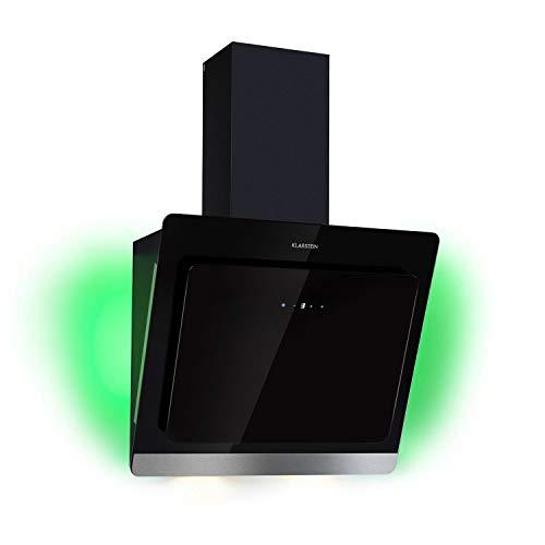 KLARSTEIN Aurora Eco - Hotte aspirante, 550 m³/h d'air évacué, Convertible en mode de recirculation, 9 couleurs LED, 60 dB, Trois niveaux de puissance, Commande tactile - 60 cm, noir