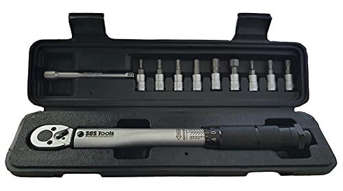 SOS Tools S1004-1/4' - Llave dinamométrica cuadrada (2-24 Nm/18-212 pulg./lb. con brocas y barra de extensión