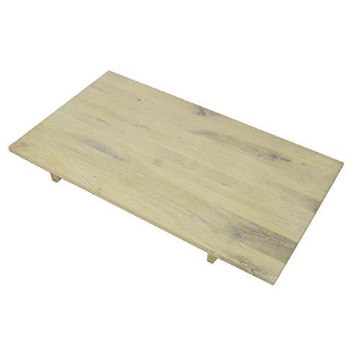 MÖBEL IDEAL Ansteckplatte für Esstisch Granby, 50x90 cm, Massivholz Holz Eiche massiv Balkeneiche White Wash