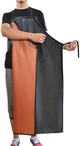 PVC Oil Resistant Rubber Apron Factory Labor Multi Fuction Working Safe Apron black red product image