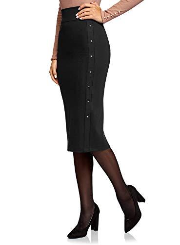 oodji Ultra Mujer Falda de Punto con Remaches Decorativos, Negro, ES 46 / XXL (Ropa)