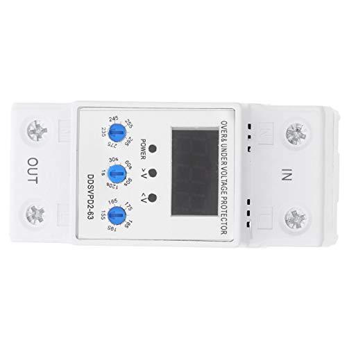 Dispositivo de protección de voltaje, relé de protector de voltaje real 220V Hecho de plástico 50 / 60Hz