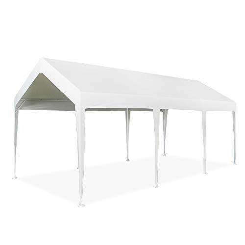 ZDYLM-Y Carport mit wasserdichter, winddichter Abdeckung, Pavillon-Carport-Baldachin mit starker Tragfähigkeit, 3 x 6 m,Milky White