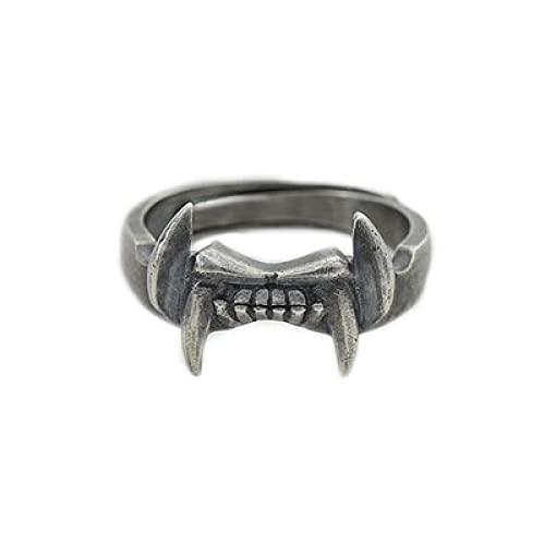 Bestia acero inoxidable para hombre anillo de dientes anillo de joyería animal punk rock12