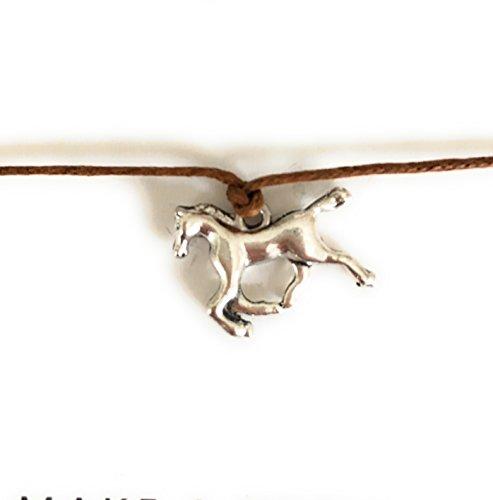 CLW wenskaart paard Horse armband bruin zilver vriendschapsarmband Make a Wish