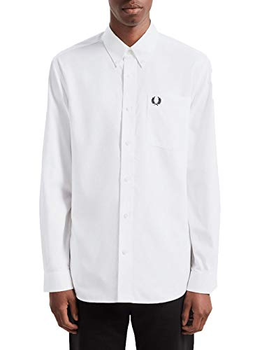 Fred Perry Uomo Oxford Camicia m7550 100 Bianco S