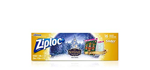 Ziploc Slider Storage Bags Featuring Disney The Nutcracker Designs, Quart, 16 Count
