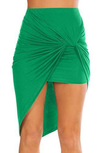 Simlu Womens Drape Up Stretchy Asymmetrical High Low Short Mini Bodycon Pencil Skirt Kelly Green Medium