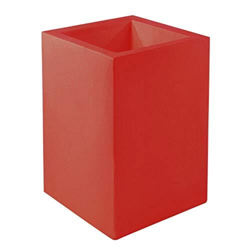 Vondom Cubo Hoge bloempot, 50 x 50 cm, hoogte 100 cm, rood