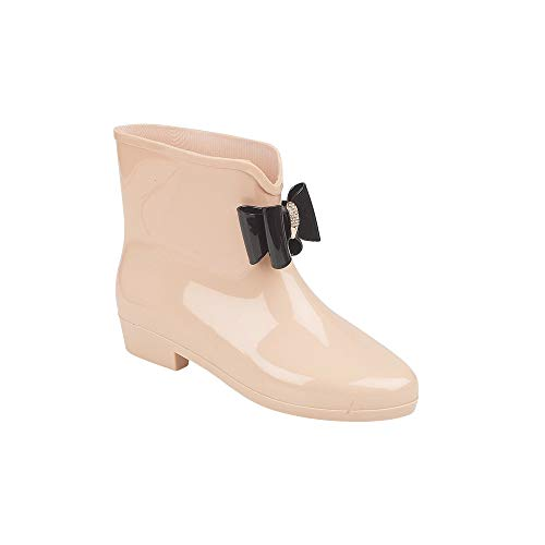 Womens Ladies Nude Wellington Boots With Bow & Dimante