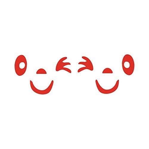 2 PCS Nuevo diseño 3D Smile Face Decoración de la cara Material reflectante Etiqueta engomada de la etiqueta para el espejo del lado retrovisor DIY Decoración de equipaje (Color Name : Red)