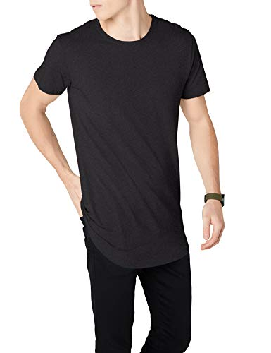 Urban Classics Herren Shaped Long Tee T-Shirt, Grau (Charcoal 00091), L (Herstellergröße: L)