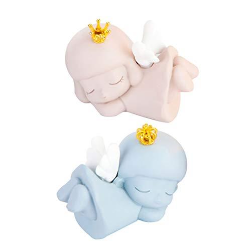 VORCOOL 2 peças de estatuetas de anjo de fadas no jardim, figuras fofas do cupido para decoração de mesa, decoração de painel de carro, decoração de bolo para aniversário, chá de bebê, presente de festa de Dia dos Namorados