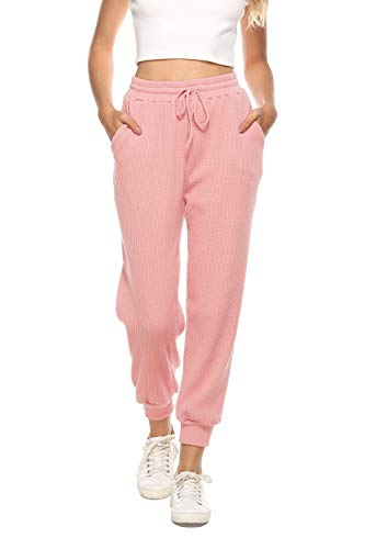 Maintain Vigour Women's High Waisted Pants Waffle Knit Joggers Elastic Waist Drawstring Yoga Sweatpants with Pockets (Pink,Medium)