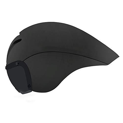 YWZQ Fahrradhelm Magnetic Brille, Rennrad Helm Triathlon Zeitfahrhelm Pneumatic Fahrradhelm Cap,Schwarz
