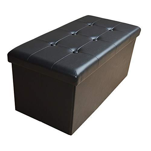 Style home Sitzhocker Sitzbank Aufbewahrungsbox Faltbare Sitztruhe mit Stauraum belastbar bis 300 kg Kunstleder 76 x 38 x 38 cm (Schwarz)