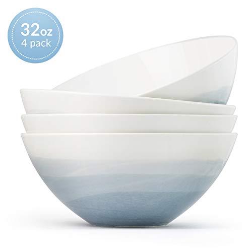 Luna 4PC 6.75', 32 ounces Glacial Porcelain Bowls | Microwave safe bowl l Cereal bowls | Pasta bowl | Large soup bowl | ceramic bowl | Kitchen bowls | salad bowl