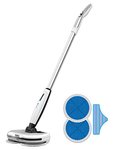 Rollibot M6 2 in 1 Floor Scrubber - Cordless Rotating Electric Mop Spinning Hard Floor Cleaner or Polisher Works On Laminate, Wood, Linoleum, Tile, Marble, and More - Rechargable