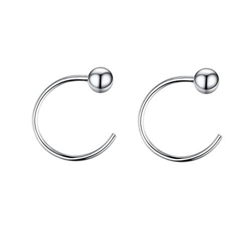 Small Half Hoops Huggie Studs Earrings for Cartilage Lobe Women Girls Sterling Silver Cuff Wrap Hypoallergenic 3mm Ball