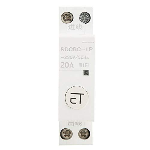 1P Ac230V Ip20 Interruptor de Control Remoto Wifi Inteligente Interruptor de Control Remoto Para Caja de Distribución Control de Teléfono Remoto Interruptor de Temporizador de Voz(1P 20A)