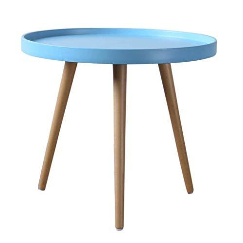 NSYNSY Tavolini da salotto, tavolino Rotondo con gambe in Legno di quercia Naturale, divano da soggiorno, lato multifunzione (Colore: BLU)