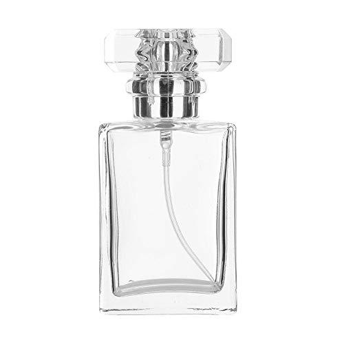 Botella de perfume de vidrio vacía vacía, Botella de perfume vacía de 30 ml, Viaje delicado de vidrio para perfume líquido para el hogar(Transparent)