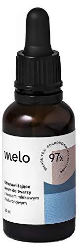 Melo Serum facial con ácido hialurónico, ácido láctico y urea, serum antiedad e hidratante, facial, para el contorno de ojos, eliminación de ojeras, vegano, cosméticos naturales 30 ml