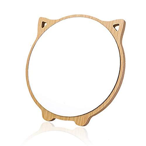 Aestivate Round Compact Desk Mirror, Cat Ear Shaped Table Standing Wood Framed Mirror Desktop Mirror for Women Girls Kids Makeup Comestic Bathroom Shower Travel Mirror