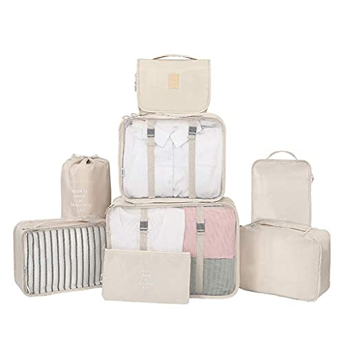 MissFox 8 Pieces Suitcase Organiser Set,Travel Clothes Bags, Waterproof Suitcase Organiser Packing Bags,Travel Organiser Bag, Travel Luggage Clothes Bag for Clothes/Cosmetics/Shoes/Cables