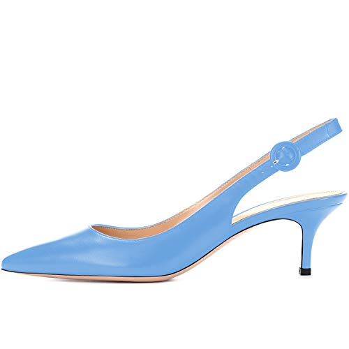 MOCORALS Womens Sky Blue Leather Pointy Toe Low Ankle Strap...